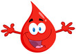 Happy Red Blood Drop With Welcoming Open Arms