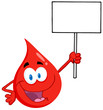 Happy Red Blood Drop Character Holding Up A Blank Sign