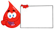 Happy Red Blood Drop Cartoon Character Holding A Blank Sign