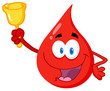 Happy Red Blood Drop Character Waving A Bell For Donation