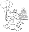 Outlined Crocodile Holding Up A Birthday Cake With Candles
