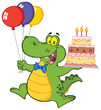 Birthday Crocodile Holding Up A Birthday Cake With Candles