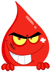 Evil Blood Guy Grinning Over A Blank Sign
