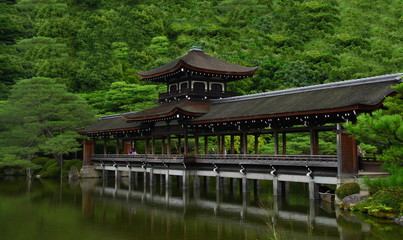 Covered bridge in Heian Jingu shrine (Kyoto, Japan)