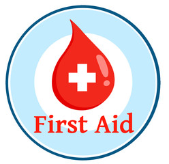Red Blood Drop With Banner With Text First Aid