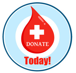 Red Blood Drop With Banner With Text Donate Today