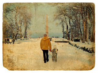 Walk in the park in winter. Old postcard.