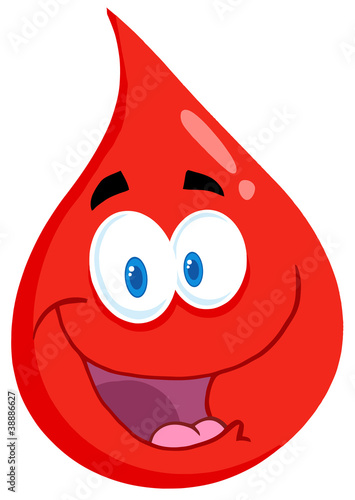 Happy Red Blood Drop Cartoon Character