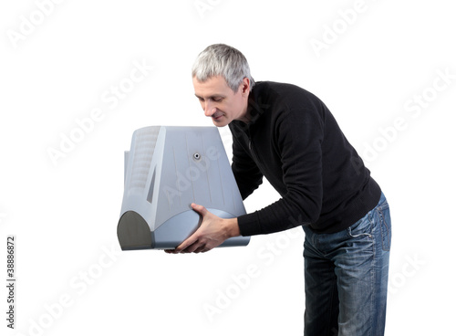 Man throws old TV, on white background
