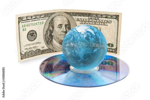 compact disk with globe and dollars banknote
