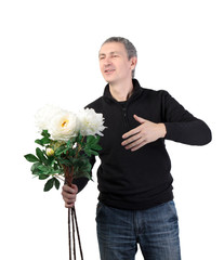Man holding a bouquet of flowers on white background