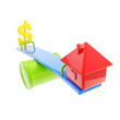 icon-like house and usa dollar sign on theseesaw