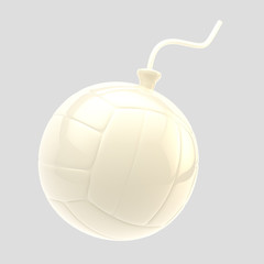 Glossy white volleyball ball as a bomb isolated