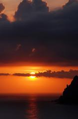 sunset over Ionian Sea seen on greek island of Corfu