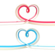 Two abstract heart symbol made of ribbon isolated