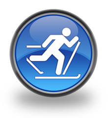 Cross-Country Skiing Glossy Button