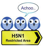 H5N1 bird flu sign with bird sneezing