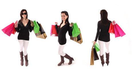 Beautiful woman with a lot of shopping bags. Collection.