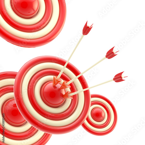 Arrows in the center of the red target