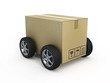 Cardboard box with wheels - shipping concept