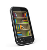 Smartphone with bookshelf - e-book library concept