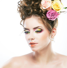 Bare beauty - young luxurious woman face with beauty spot