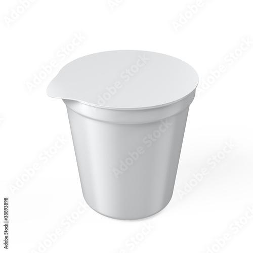 Blank yogurt cup isolated on white