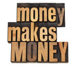 money concept in wood type