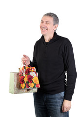 Man with gift bags, white background