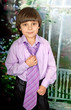Portrait of a cute boy in the purple shirt and tie