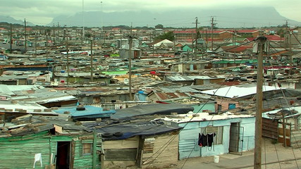 view over shackland  township in south africa