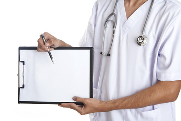 Doctor pointing to a blank note