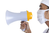 Doctor with megaphone over white