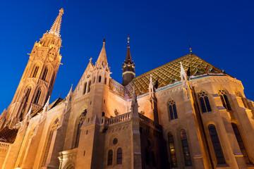 Matthias Church in Budapest at night
