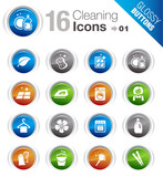 Glossy Buttons - Cleaning Icons