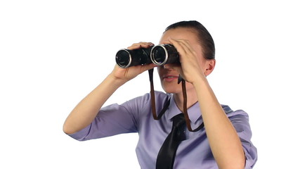 Businesswoman looking through binoculars, isolated on white