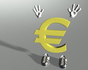 Personaggio Euro mani in alto