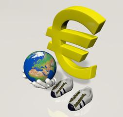 Personaggio Euro con mondo tra le mani