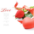 Red rose and heart-shaped decoration