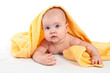 Newborn girl on a white background.