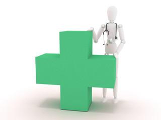 Manichino3D dottore poggiato su croce verde