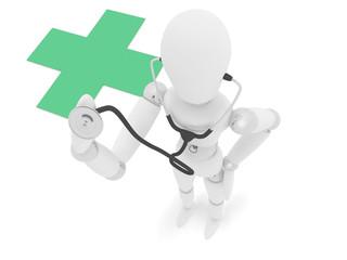 Manichino3D dottore in piedi con croce verde