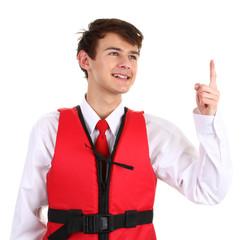 An air stewardess with a life jacket