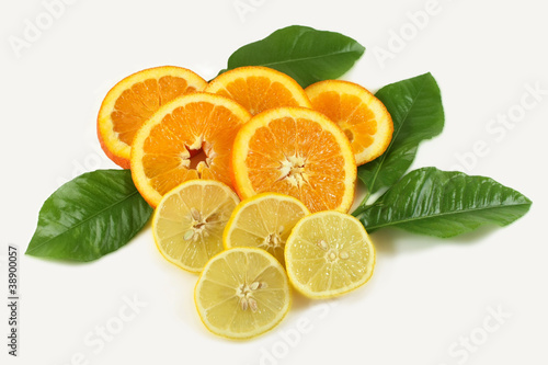 Fotobehang Plakjes fruit Orange Zitrone Citrus