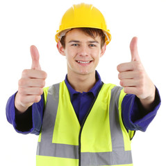 Thumbs up worker