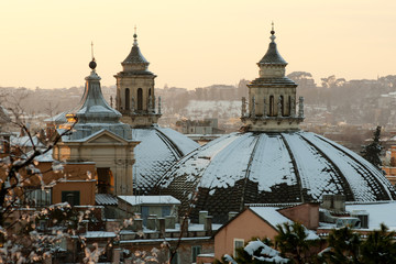 "Domes of the ""Twin Churches"" covered in snow (Rome)"