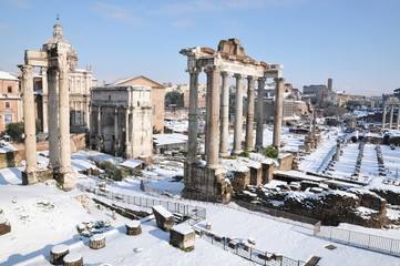 Roman forum covered in snow (Rome)