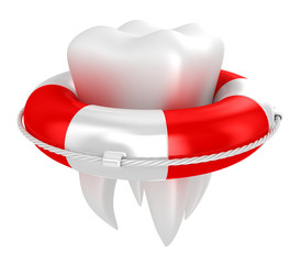 Tooth with lifebuoy