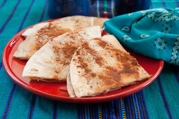 Sweet tortilla dessert with cinnamon