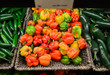 Habanero peppers on display in supermarket